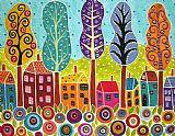 - 房屋树木和花朵绘画由其弟?