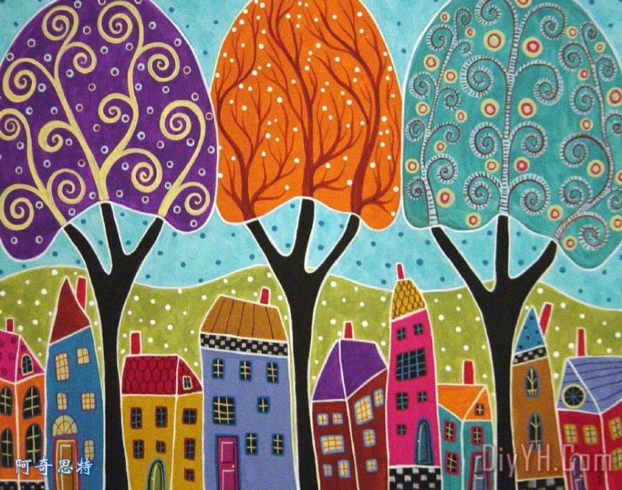 房屋树木民间艺术 - 房屋树木民间艺术装饰画