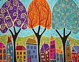 房屋树木民间艺术抽象油画