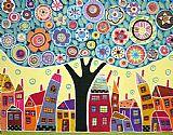 拼贴树和房子装饰画