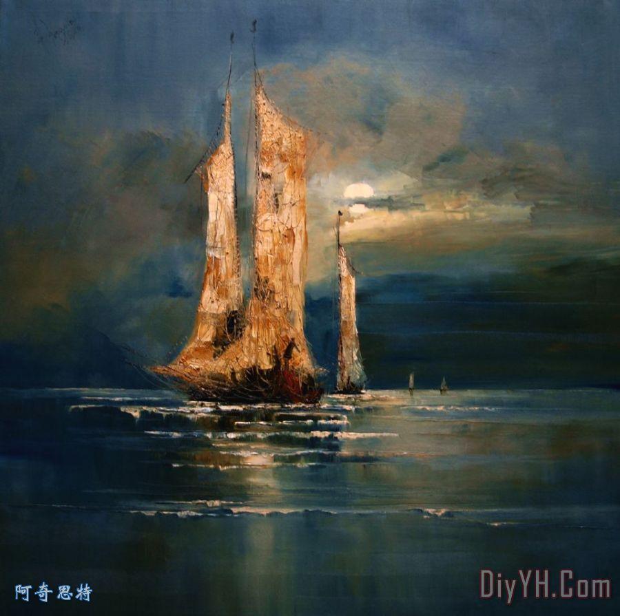 月亮装饰画_海景_小船_海洋_海军的_月亮油画定制