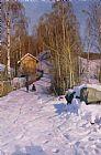 冬季景观带小孩雪橇装饰画