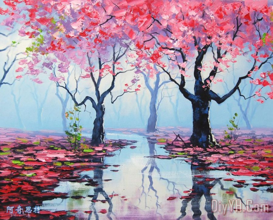 开花的树装饰画_风景_花卉_印象_开花的树油画定制