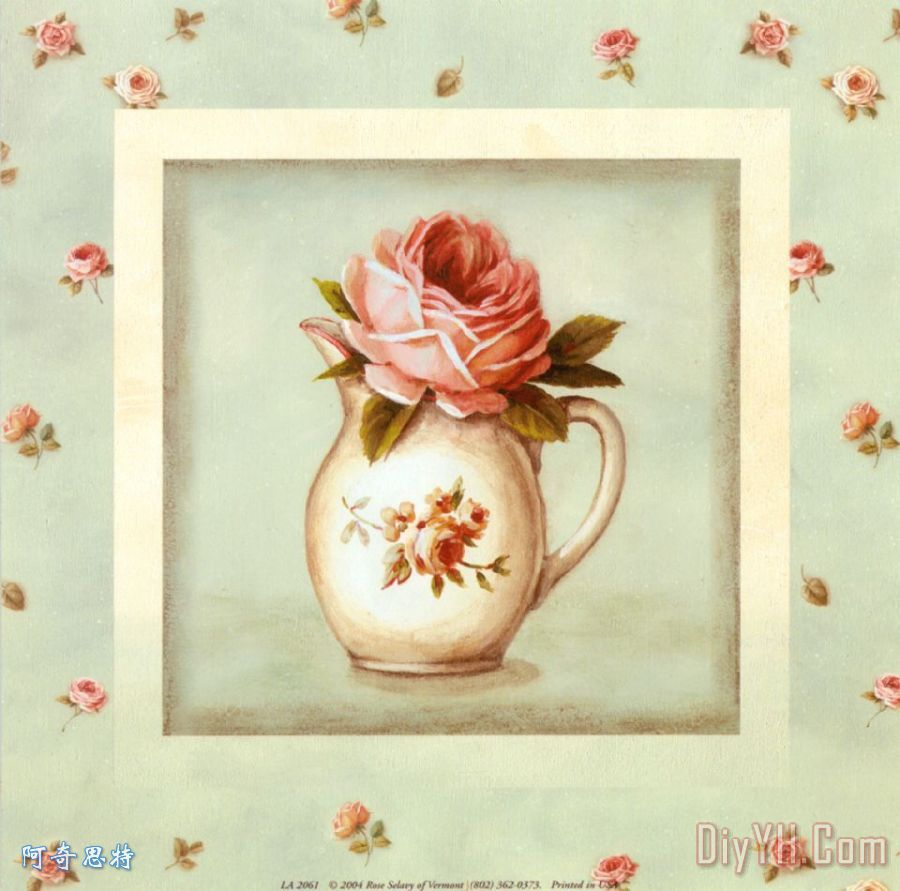 玫瑰花瓶装饰画 丽莎欧迪玫瑰花瓶 花卉 静物 玫瑰花瓶油画定制 阿奇思