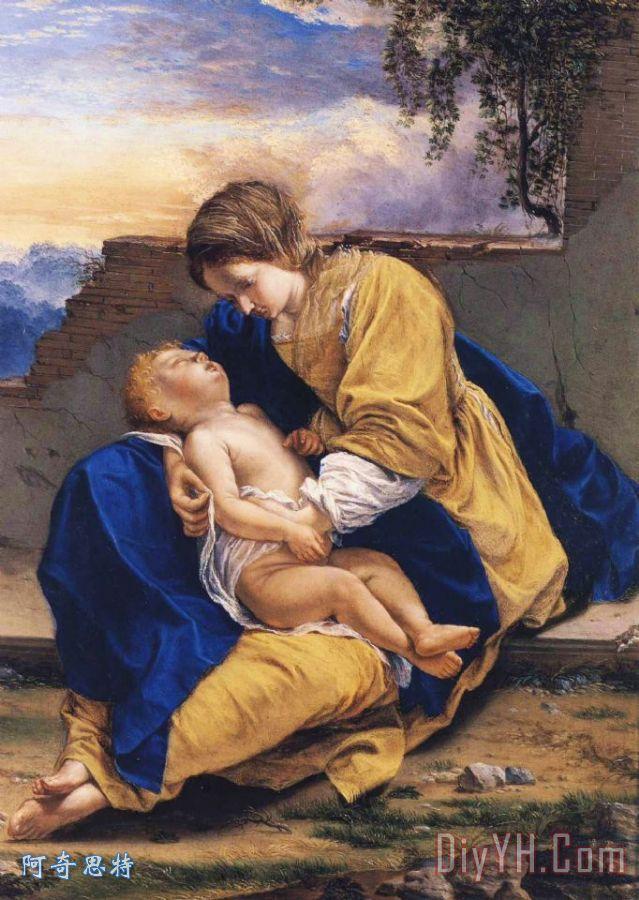麦当娜和孩子在一个风景装饰画_人物_儿童_图片大全