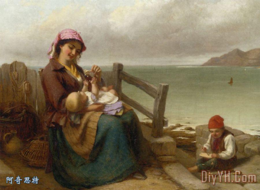 母亲和儿童在海边装饰画_人物_母亲和儿童在海边油画