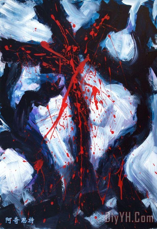 钉在十字架上装饰画 抽象 耶稣基督 钉在十字架上油画定制 阿奇思特图片