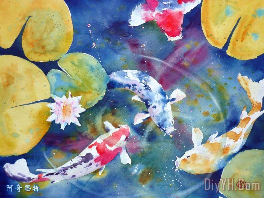 锦鲤和睡莲的花装饰画