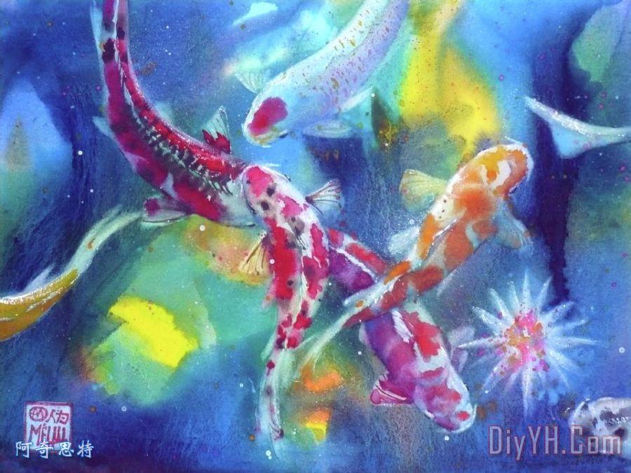 锦鲤在池塘装饰画_动物_水景_水彩画_锦鲤在池塘油画