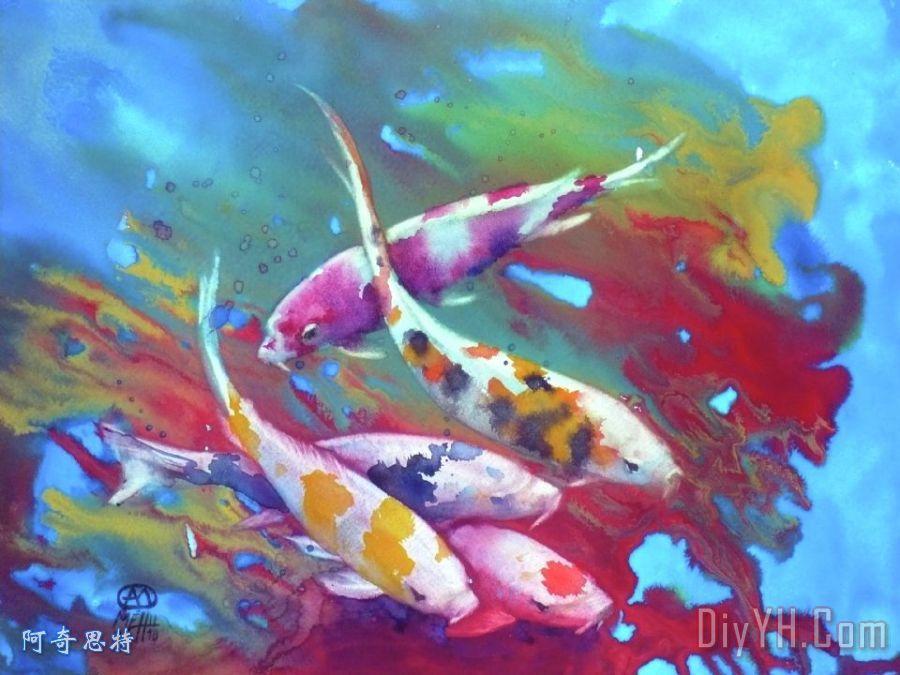 锦鲤红色海藻装饰画_动物_水景_水彩画_锦鲤红色海藻