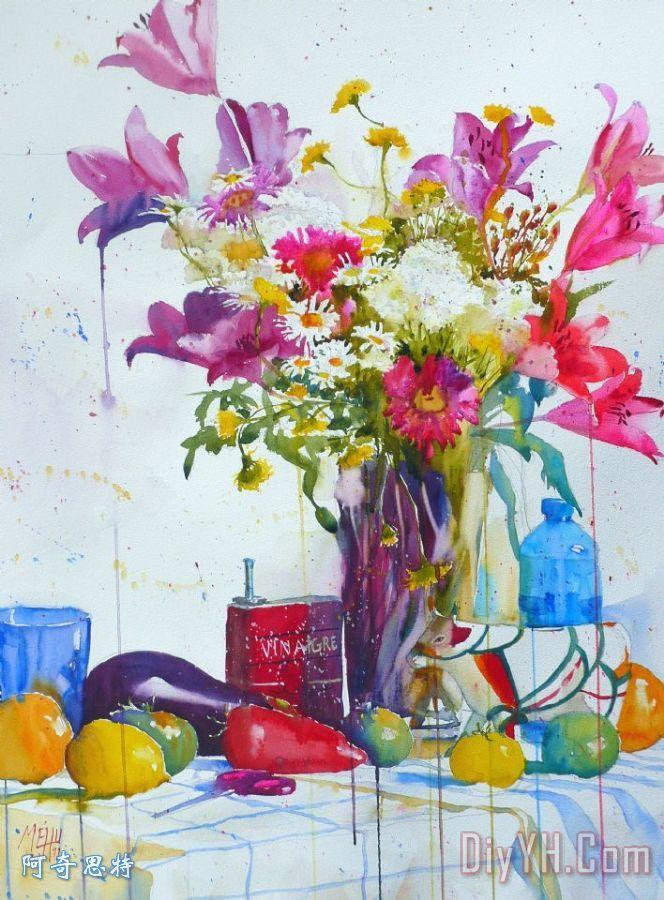 百合和储蓄罐装饰画 静物 水彩画 百合和储蓄罐油画定制 阿奇思特 -百