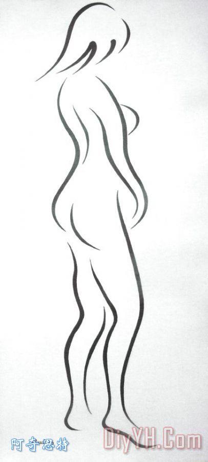 手绘气质女生侧影