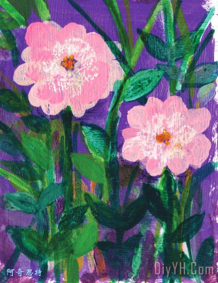 友谊花装饰画 花卉 花朵 植物 淡红色的 紫色的 友谊花油画定制 阿奇思特