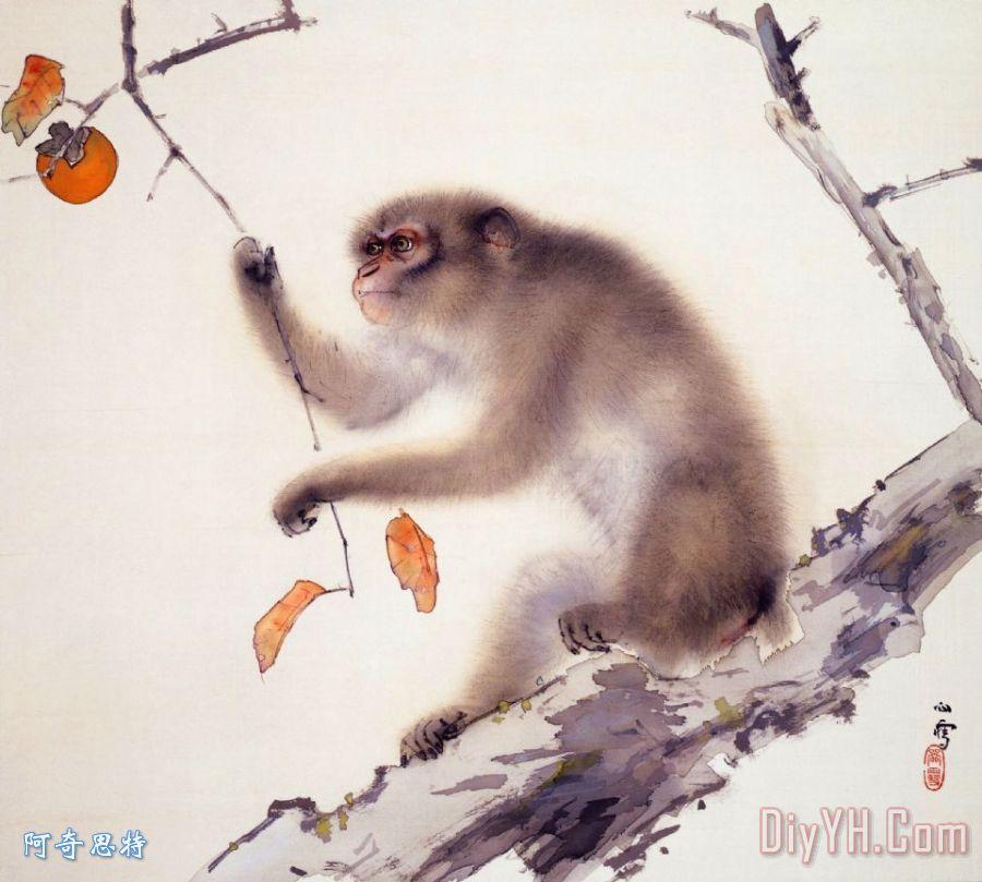 国画可爱的猴子
