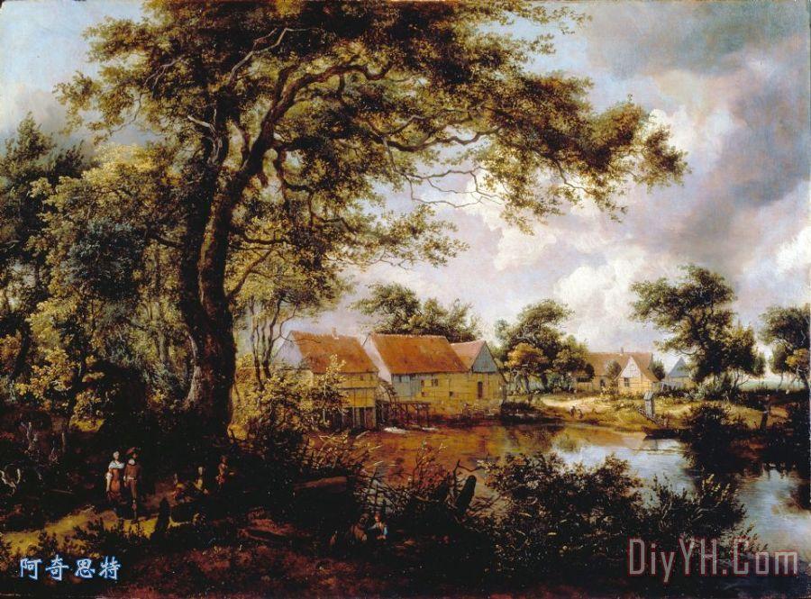 树木繁茂的景观与水磨装饰画_风景_树木繁茂的景观与
