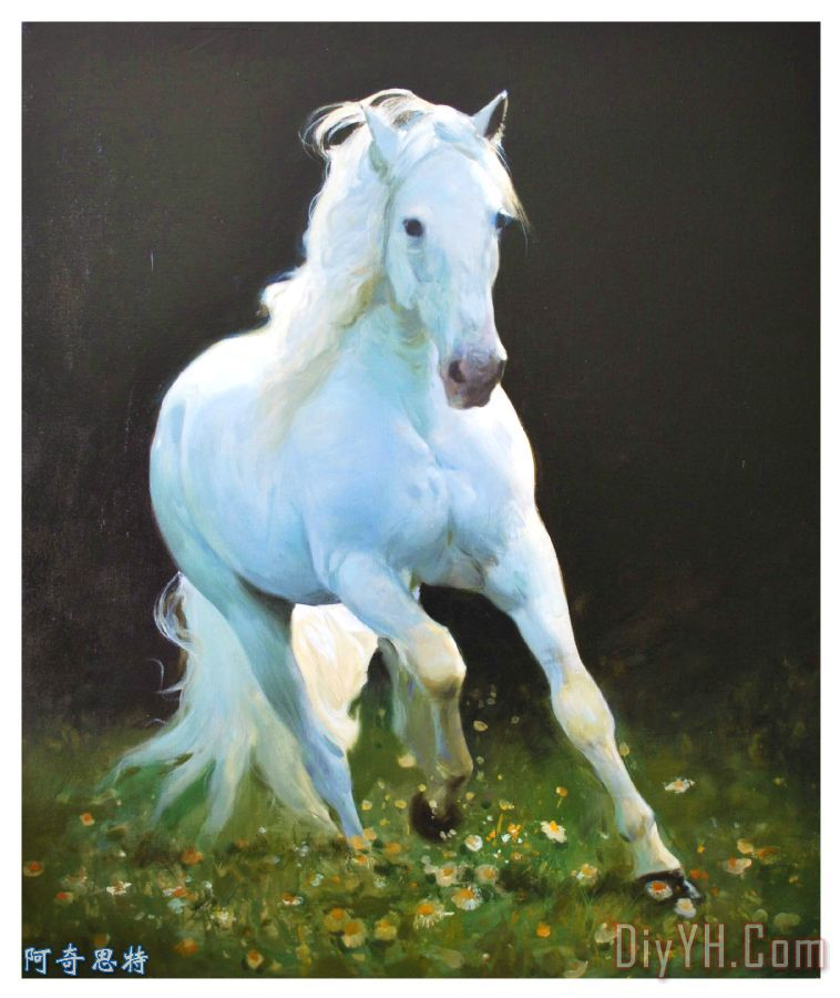 马跑装饰画_动物_条纹_自然_杜鹃_马跑油画定制