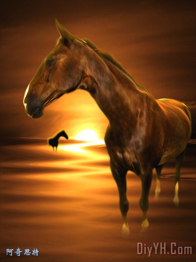 马装饰画_动物_马群_褐色的