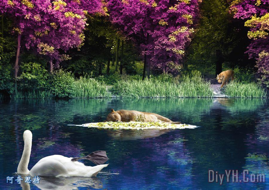 在湖装饰画_抽象_动物