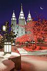圣诞灯在寺庙广场装饰画