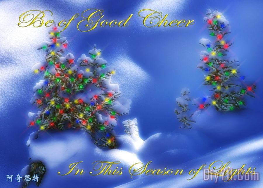 室外圣诞树装饰画_风景_树木_雪花_冬天_圣诞灯_室外