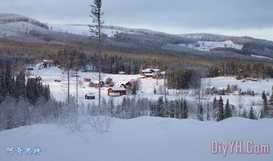 在冬季瑞典乡村装饰画_风景_村庄_住宅_别墅_风景优美