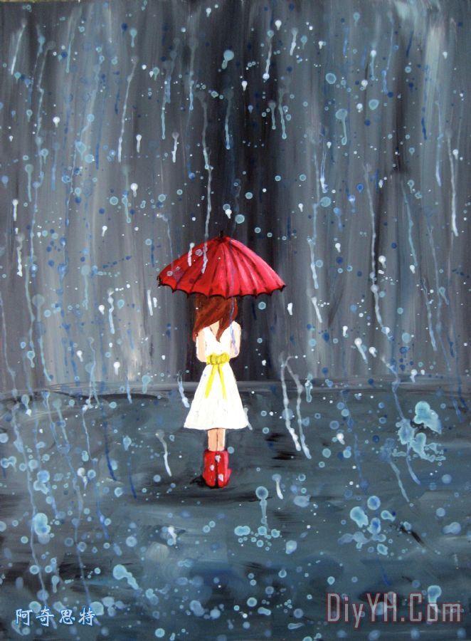 人物 女孩 秋天 雨伞 白色的衣服 漫步雨油画定制 阿奇思特