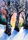 日落桦树的崛起装饰画