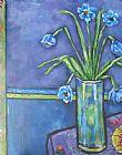 花瓶与蓝色花和樱桃装饰画