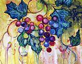 红色水彩葡萄装饰画