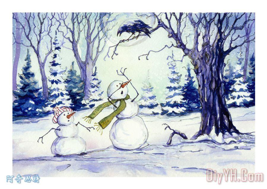 雪人和乌鸦 - 雪人和乌鸦装饰画