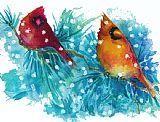 两个红雀装饰画