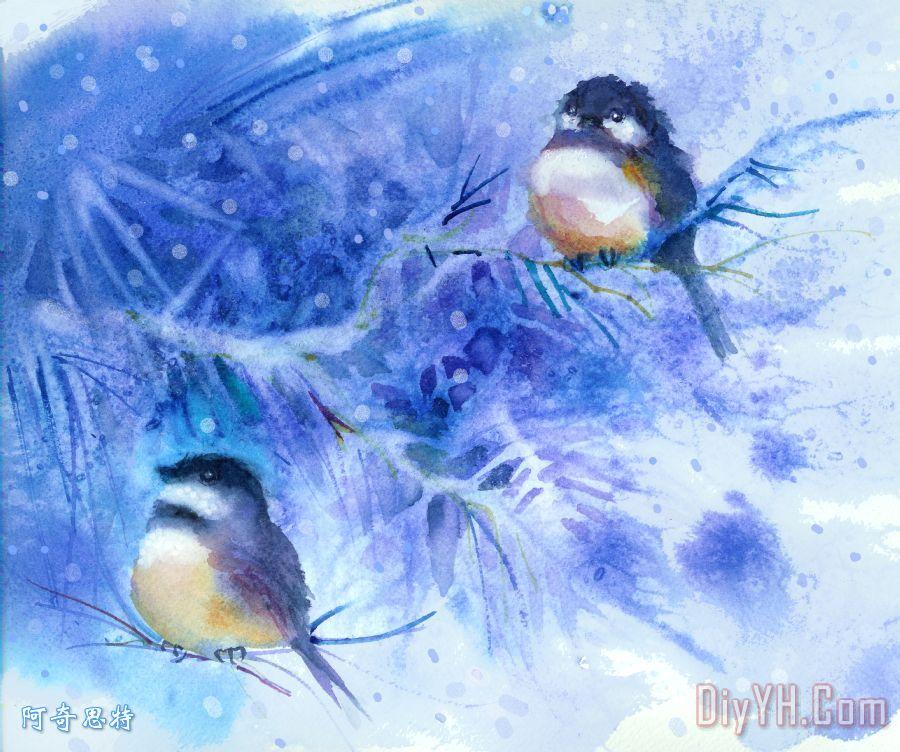 两个山雀雪装饰画_风景_树枝_鸟类_雪花_冬天_图片