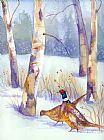 两种雉在冬季装饰画