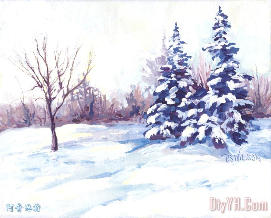 冬季景观装饰画_风景_树木_雪花_冬天_光秃秃的树木