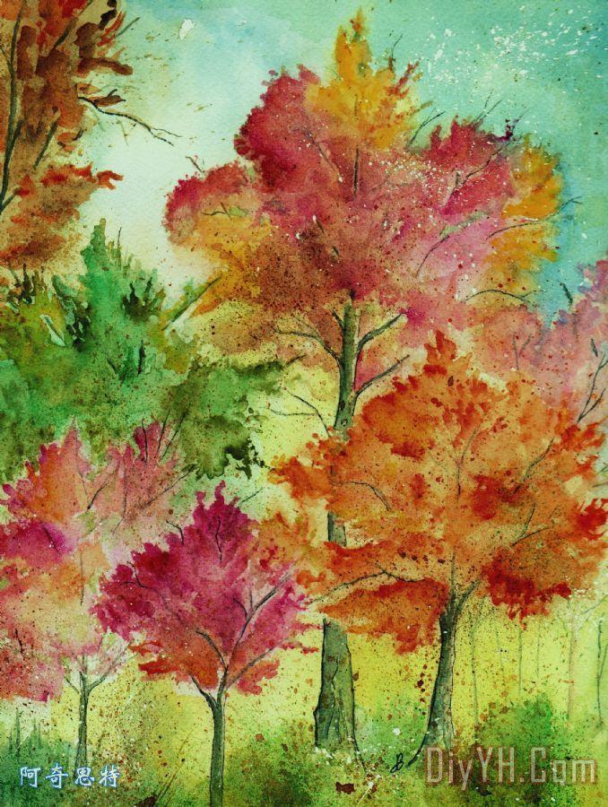秋天的老虎伍兹装饰画_风景_印象派_水彩_原创的_秋天