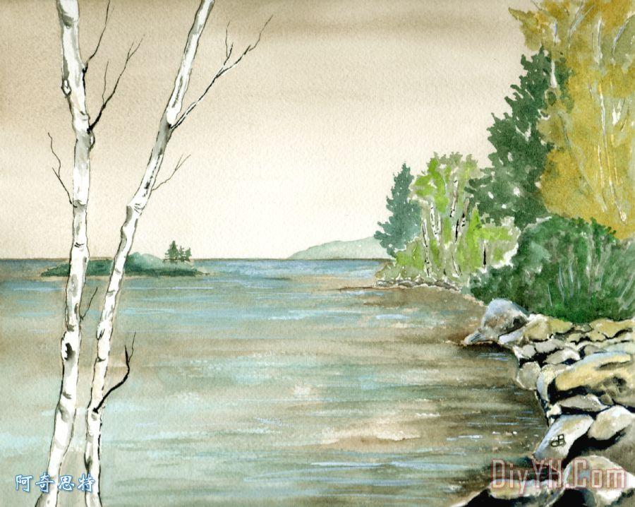 桦树在湖边 - 桦树在湖边装饰画
