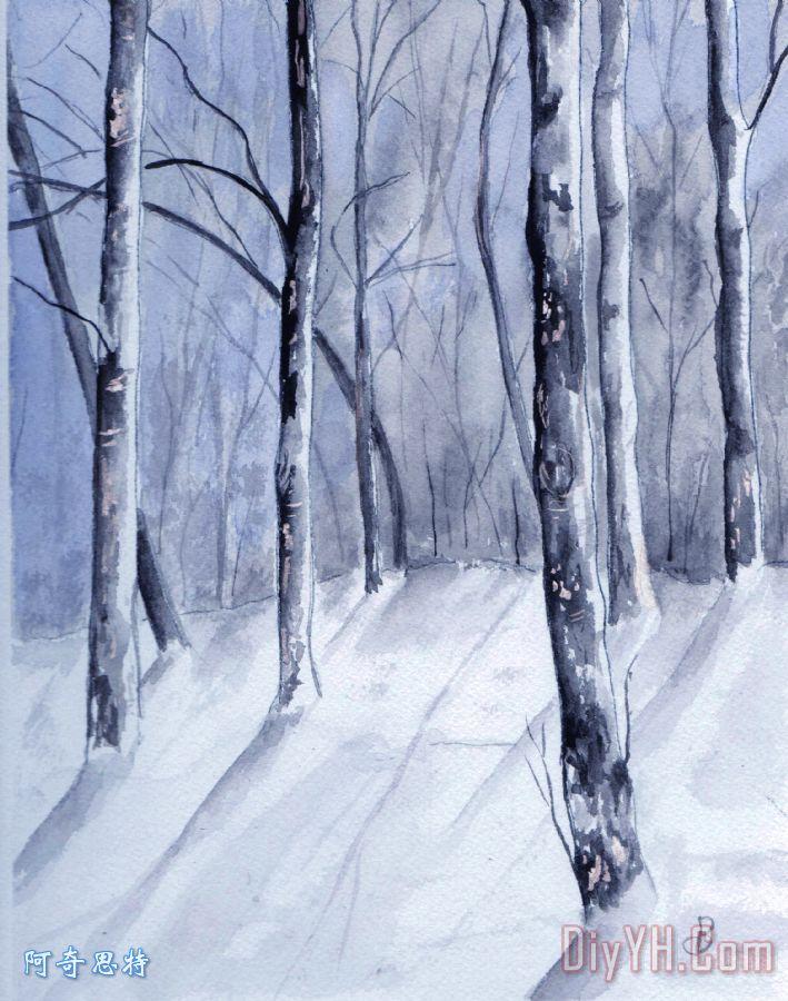 缅因州冬天树林装饰画_风景_印象派_森林_木材_水彩