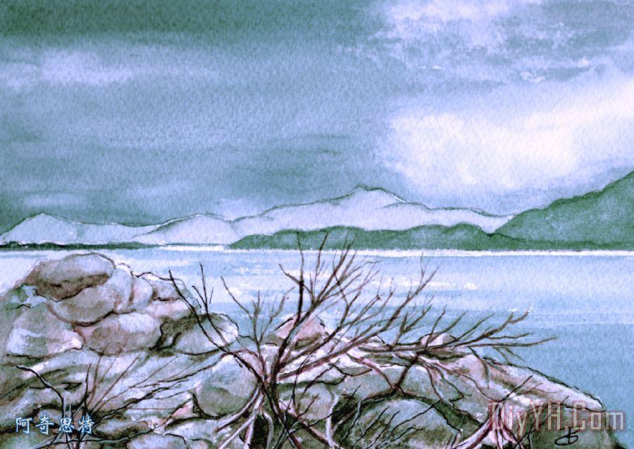 海景装饰画_风景_印象派_海洋_海景画_水彩_海景油画
