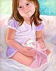 女孩与豚鼠装饰画