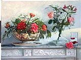粉色玫瑰和红色蔷薇写实装饰画