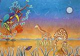 晚上Giraffs装饰画