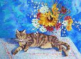 向日葵的猫装饰画