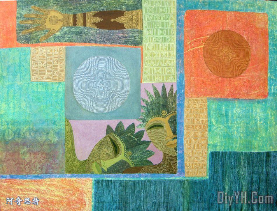 友谊的画-装饰画 抽象 友情 太阳和月亮的联盟油画定制 阿奇思特