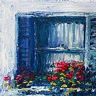蓝色的百叶窗装饰画