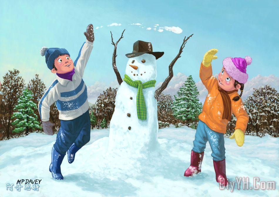 雪地里玩耍的儿童