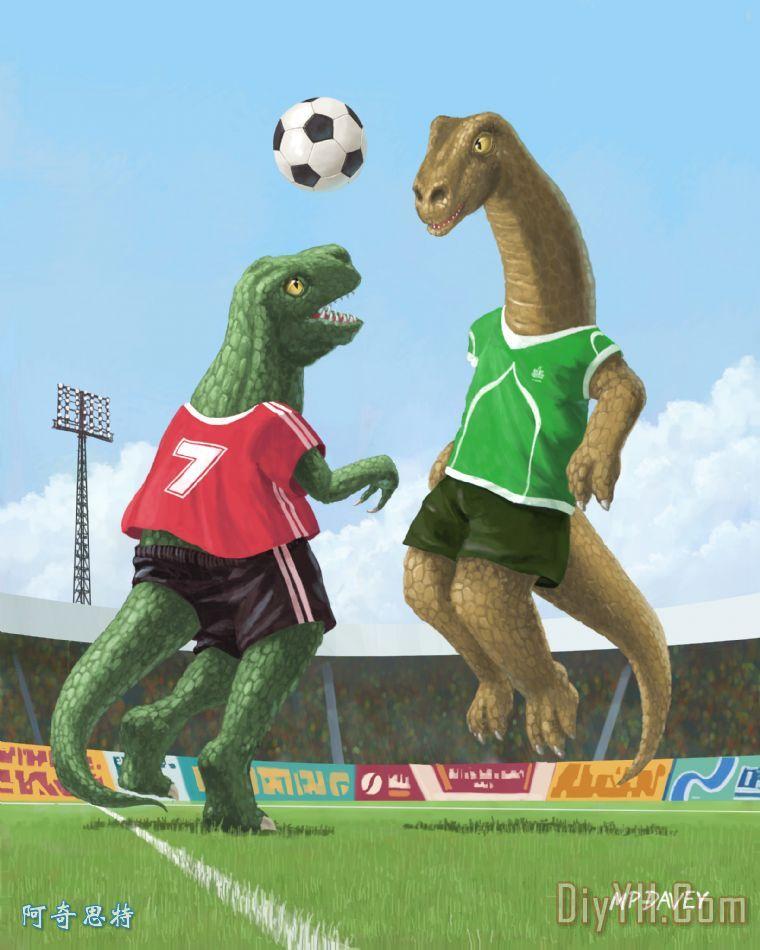 恐龙足球体育游戏装饰画_动物_运动_图解_恐龙足球