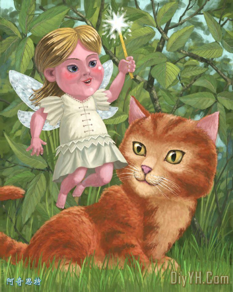 小猫女精灵在花园装饰画