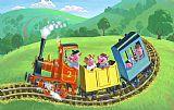 快乐小猪的火车之旅人物油画