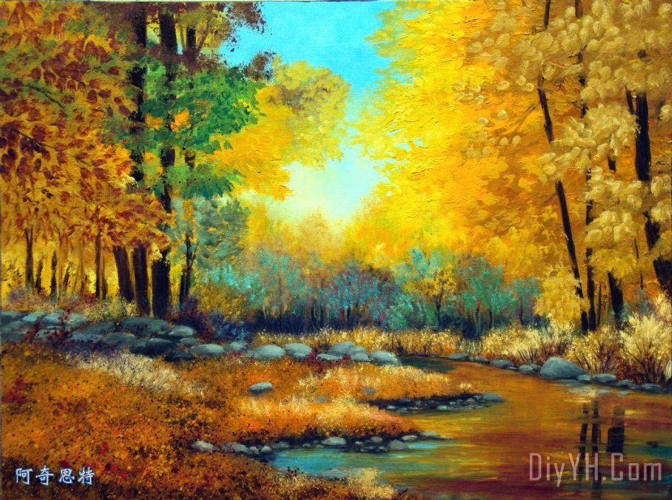 秋天的森林小溪 - 劳拉思柯秋天的森林小溪装饰画
