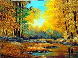 秋天的森林小溪美式田园风格油画